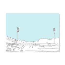 """Postkarte """"Stadion, gezeichnet"""""""