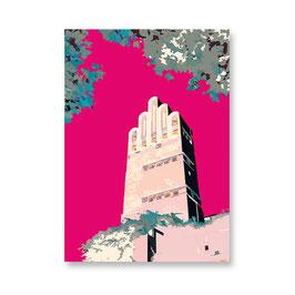 """Postkarte """"Hochzeitsturm, pink"""""""
