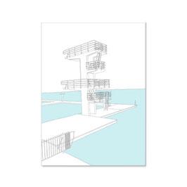 """Postkarte """"Sprungturm am Woog, gezeichnet"""""""