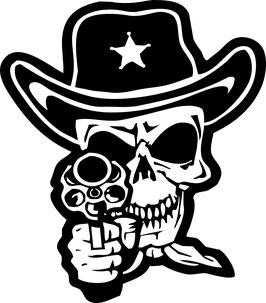 Totenkopf Sheriff mit Revolver 28 cm