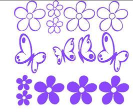 Schmetterlinge - Blumen - Set