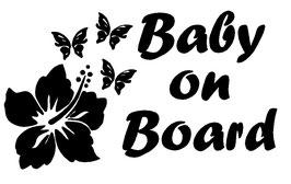 Baby on Board Aufkleber Hibiskus mit Wunschname