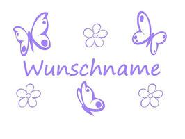 Schmetterlinge - Blumen mit Wunschname