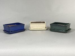 Schale China, rechteckig mit Untersetzer (creme/blau/grün)