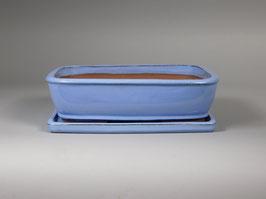 Schale China, blau, rechteckig mit Untersetzer
