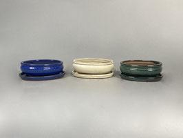 Schale China, blau, creme, grün, oval mit Untersetzer