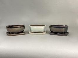 Schale China, gold-, silber-, graphit-farben, rechteckig mit Untersetzer