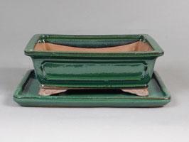 Schale China, grün, rechteckig mit Untersetzer
