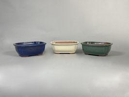 Schale China, blau, creme, grün rechteckig