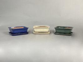 Schale China, blau, creme, grün, rechteckig mit Untersetzer