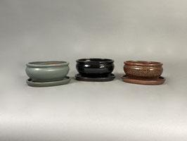 Schale China, grün-grau, schwarz, rostfarben, oval mit Untersetzer
