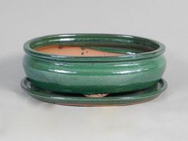 Schale China, grün, oval mit Untersetzer