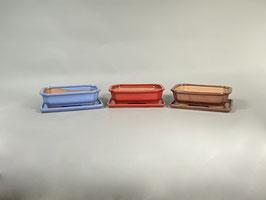 Schale China, blau, rot, rostfarben, rechteckig mit Untersetzer