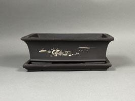 Schale China, unglasiert, rechteckig mit Untersetzer