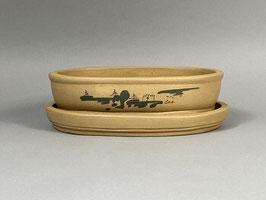 Schale China, unglasiert, oval mit Untersetzer