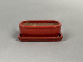 Schale China, rot, rechteckig mit Untersetzer