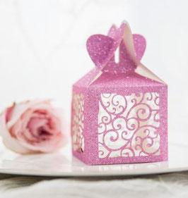 """10 Stück #O Lasercut Schachtel """"Glittering Pink"""""""