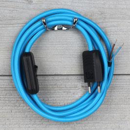 Textilkabel Anschlussleitung 2-5m hell-blau mit Schalter und Euro-Flachstecker