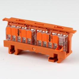 221-500 Befestigungsadapter mit 2 x 221-415 Wago Compact Verbindungsklemme