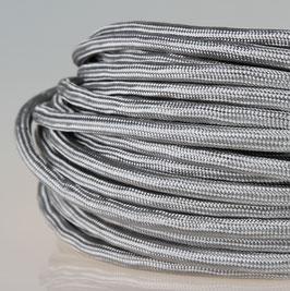 Textilkabel Stoffkabel silber 3-adrig 3x0,75 Zug-Pendelleitung S03RT-F 3G0,75