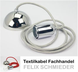 Textilkabel Leuchtenpendel silber mit E27 Metallfassung und chrom Baldachin
