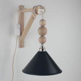 Textilkabel Galgen-Lampe mit Holzkugeln Buche Natur E27 Vintage Fassung Lampenschirm schwarz