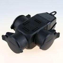 3-fach Schutzkontakt Gummi-Kupplung schwarz mit Klappdeckel IP44
