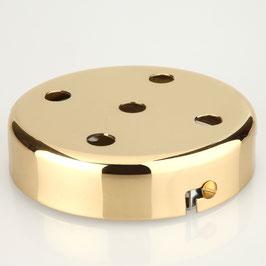 Lampen Metall Baldachin 100x25mm vermessingt für 5 Lampenpendel