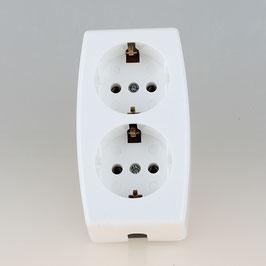 Tischsteckdose Steckdosenleiste weiß 2-fach 250V/16A ohne Kabel mit Zugentlastung für Selbstmontage