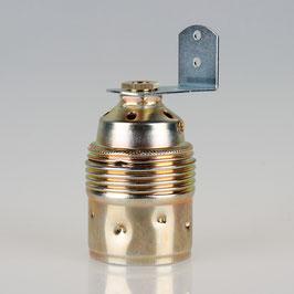 E27 Premium Metall-Fassung vermessingt mit Winkel und 6-kant Trompetennippel