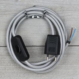 Textilkabel Anschlussleitung 2-5m silber mit Schalter und Euro-Flachstecker