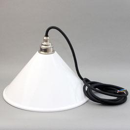 Lampenschirm weiß Textilkabel Leuchtenpendel mit E27 Vintage Metallfassung Nickel matt