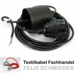 PVC-Kabel Leuchtenpendel schwarz mit E27 Kunststoff Fassung mit Außengewinde Baldachin schwarz