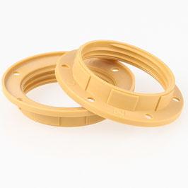 2x E27 Unterring Schraubring Kunststoff gold 57x12mm für Kunststoff Fassung