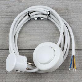 Lampen Anschlussleitung weiß 2-5m mit Fußschalter und Schutzkontakt-Stecker