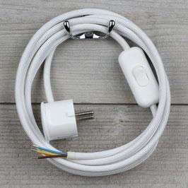 Textilkabel Anschlussleitung 2-5m weiss mit Schalter u. Schutzkontakt Winkelstecker