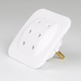 Kopp Schutzkontaktstecker Adapter 3-fach, superflach, weiß