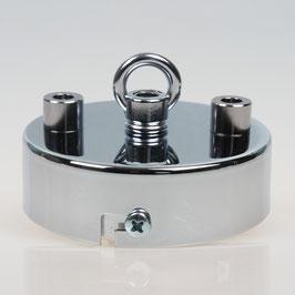 3 Loch Lampen Baldachin 80x25 Metall verchromt mit Ringnippel 22mm fuer Kettenaufhaengung
