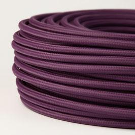 Textilkabel Stoffkabel aubergine 3-adrig 3x0,75 Schlauchleitung 3G 0,75 H03VV-F