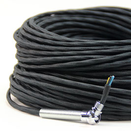 Textilkabel-Stoffkabel schwarz 4-adrig 4x0,75 extra dünn