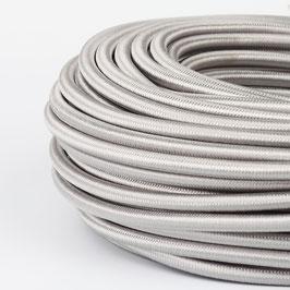 Textilkabel-Stoffkabel silber 3-adrig 3x1,0 mit Stahlseil zur Zugentlastung