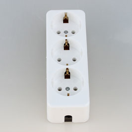 Tischsteckdose Steckdosenleiste weiß 3-fach 250V/16A ohne Kabel mit Zugentlastung für Selbstmontage