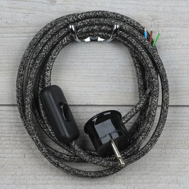 Textilkabel Anschlussleitung 2-5m grau meliert mit Schalter u. Schutzkontakt Winkelstecker