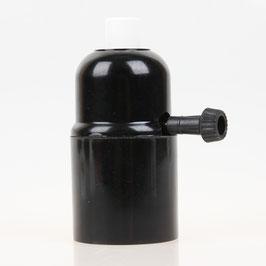 E27 Bakelit Fassung mit Drehschalter Zugentlaster Kunststoff weiß