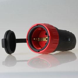 N&L Schutzkontakt Gummi-Kupplung schwarz/rot mit Deckel und Verriegelung 250V/16A IP44