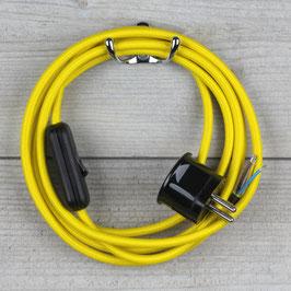 Textilkabel Anschlussleitung 2-5m neon-gelb mit Schalter u. Schutzkontakt Winkelstecker