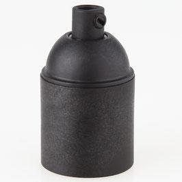 E27 Kunststoff Fassung schwarz ohne Außengewinde mit Zugentlaster