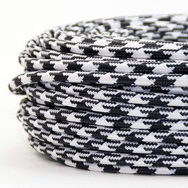 Textilkabel Hahnenkamm Muster 2-adrig 2x0,75 Gummischlauchleitung textilummantelt