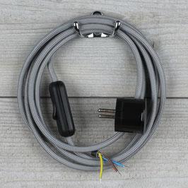 Textilkabel Anschlussleitung 2-5m grau mit Schalter u. Schutzkontakt Winkelstecker