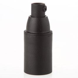 E14 Thermoplast Fassung schwarz Glattmantel mit Zugentlaster Kunststoff